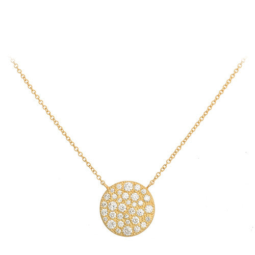 18kt Yellow Gold and Diamond Pave Necklace