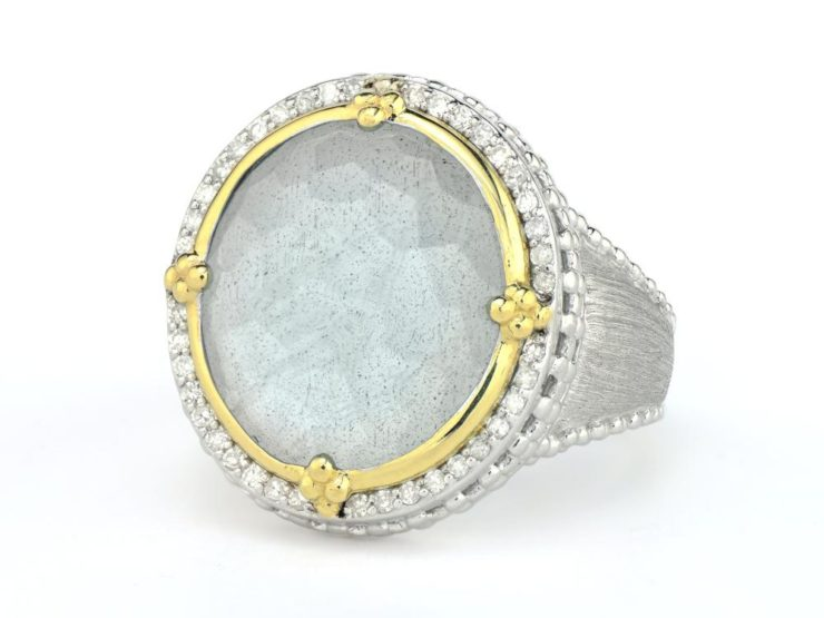 Jude Frances Medium Mixed Metal Oval Stone Pave Halo Beaded Ring