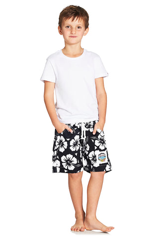Kids Boardies - Hibiscus Navy