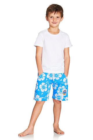 Kids Boardies - Hibiscus Sky Blue