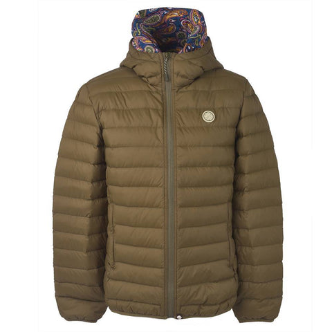Pretty Green Lightweight Quilted Hooded Jacket in Khaki Coats & Jackets Pretty Green