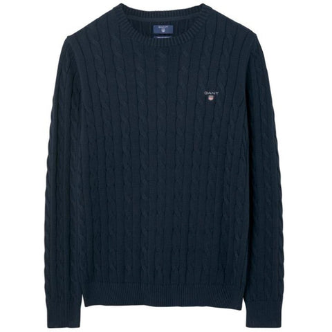 Gant Cotton Cable Crew Neck Jumper in Evening Blue Jumpers Gant