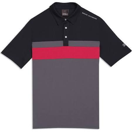 Oscar Jacobson Boston Course Striped Golf Polo Shirt in Black Polo Shirts Oscar Jacobson