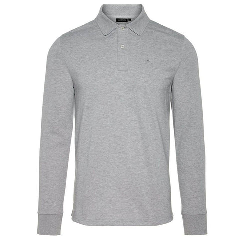 J. Lindeberg Luke Pique Polo Shirt In Light Grey Melange Polo Shirts J. Lindeberg