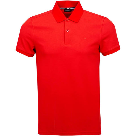 J. Lindeberg Troy Clean Pique Polo Shirt in Deep Red Polo Shirts J. Lindeberg