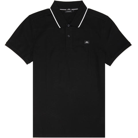J. Lindeberg Roy Clean Pique Polo Shirt in Black Polo Shirts J. Lindeberg