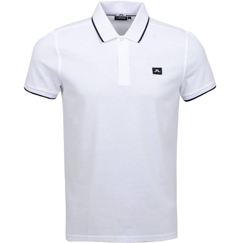 J. Lindeberg Roy Clean Pique Polo in White Polo Shirts J. Lindeberg