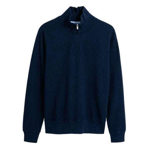 Gant Honeycomb Half Zip Sweatshirt in Evening Blue Jumpers Gant