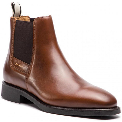 Gant James Leather Chelsea Boots in Cognac Brown Shoes Gant