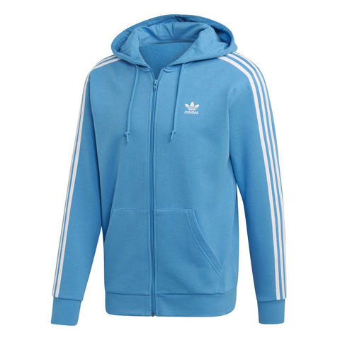 adidas DZ4588 3-Stripe Full Zip Hoody in Shock Cyan Hoodies Edwards Menswear