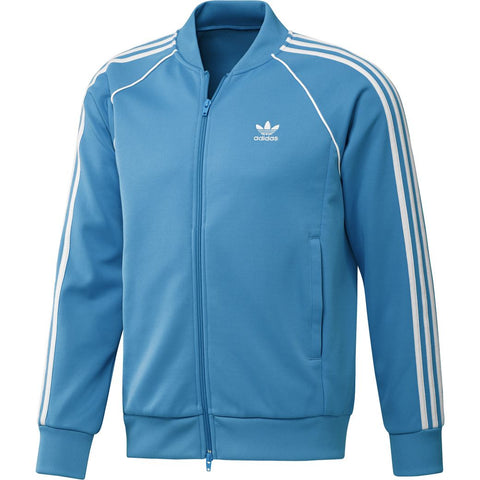 adidas DZ4636 SST TT Full Zip Jacket in Shock Cyan sweatshirt adidas