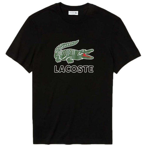 Lacoste TH6386-031 Croc Logo T-Shirt in Black T-Shirts Lacoste