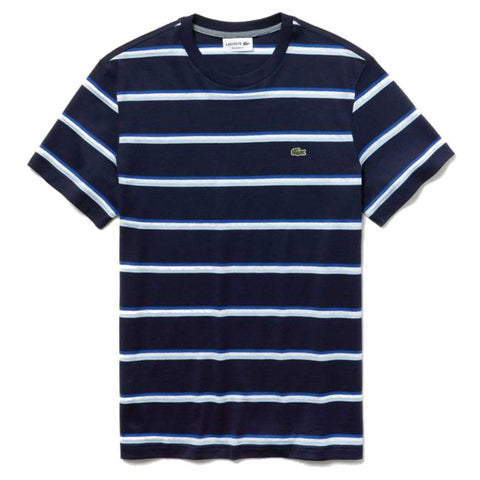 Lacoste TH4294-7CN Crew Neck Striped T-Shirt in Navy / White / Light Blue T-Shirts Lacoste