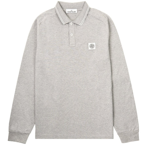 Long Sleeved Polo Shirt in Grey Polo Shirts Stone Island