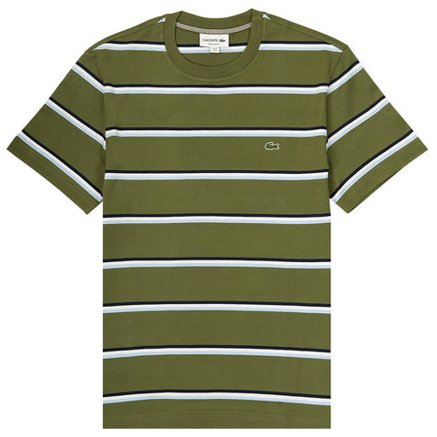 TH4294-7CC Crew Neck Striped T-Shirt in Green / White / Navy T-Shirts Lacoste