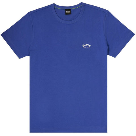 Tee Cotton Curved Logo T-Shirt in Blue T-Shirts BOSS