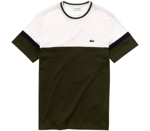 TH4238-9MX Crew Neck T-Shirt in Green / Navy / Cream T-Shirts Lacoste
