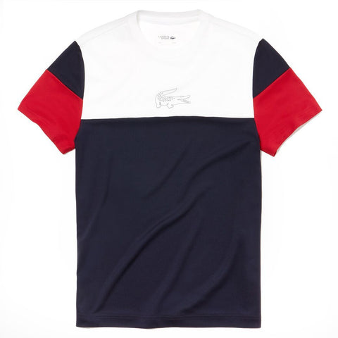 TH3421-A10 Crew Neck Colourblock Tech Pique T-Shirt in White / Navy / Red T-Shirts Lacoste Sport