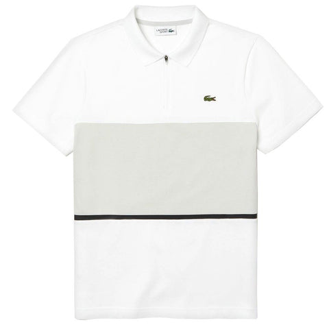 Lacoste Sport Zip Neck Colourblock Polo Shirt in White / Grey Polo Shirts Lacoste