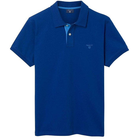 Gant The Contrast Collar Pique SS Rugger Polo in Yale Blue Polo Shirts Gant
