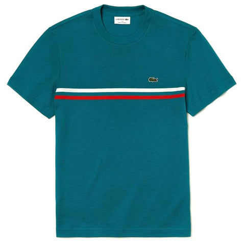 TH4335-89U Made in France Cotton T-Shirt in Blue / Red / White T-Shirts Lacoste