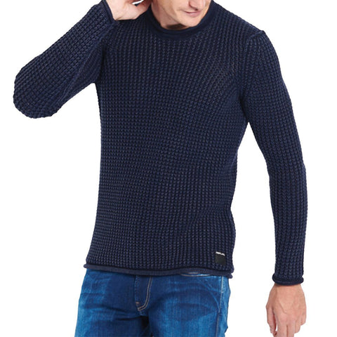 Replay Cotton Waffle Knit Jumper in Navy Jumpers Replay