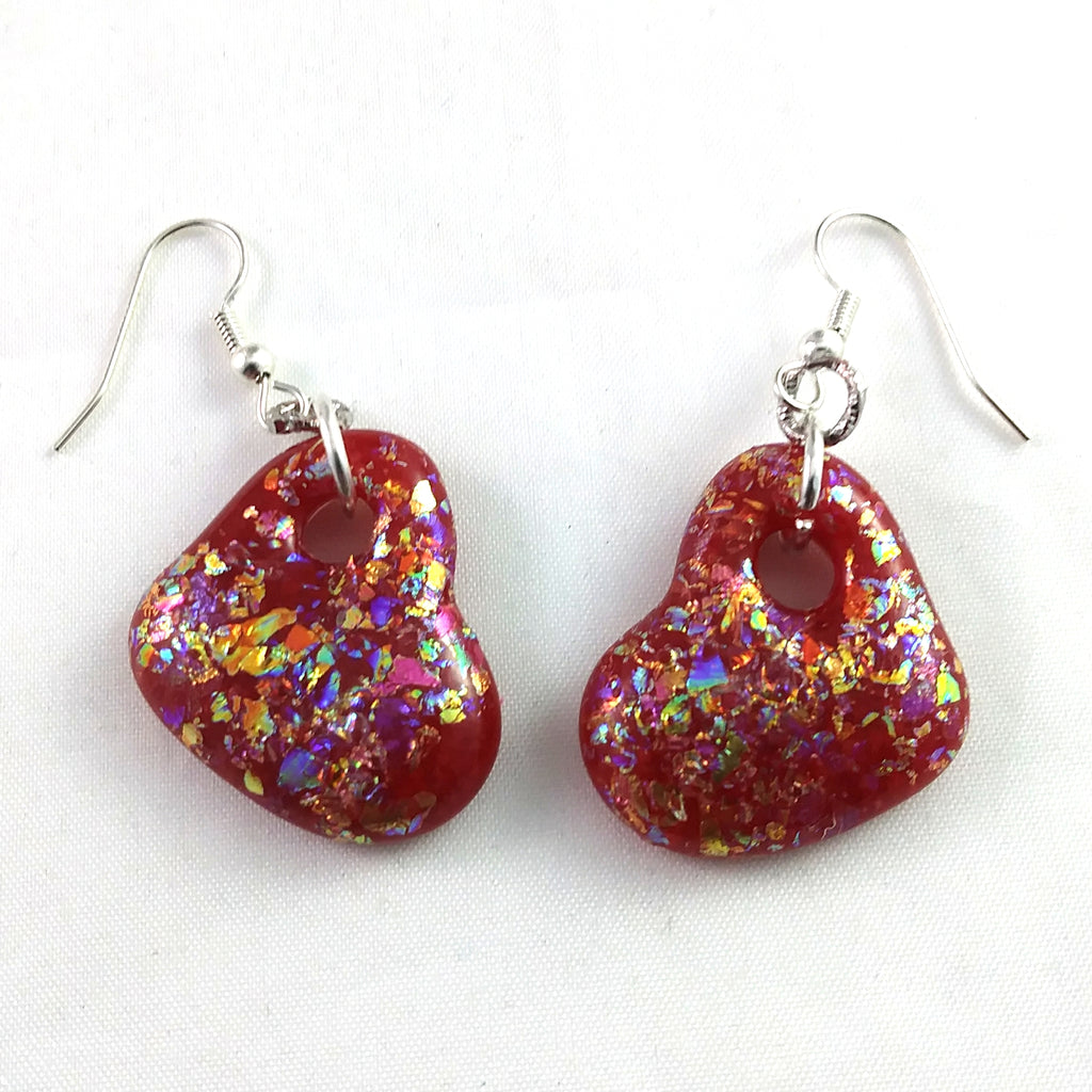 Handmade Art Glass Heart Earrings, Red and Rainbow Dichroic, Valentine Gift