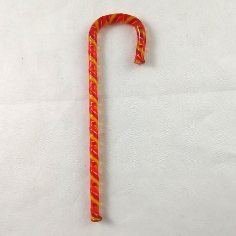Handmade Art Glass Candy Cane, Orange-Red-Yellow, 3.5""