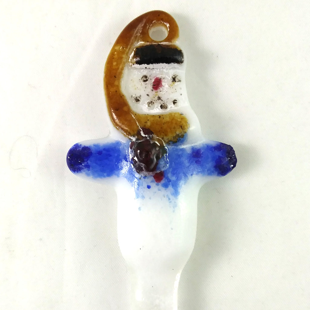 Handmade Christmas Snowman Icicle Ornament, Amber Red Blue White, Small