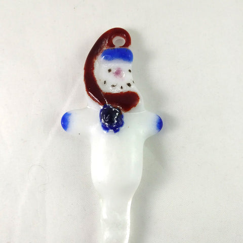 Handmade Christmas Snowman Icicle Ornament, Red Blue White Pink, Small