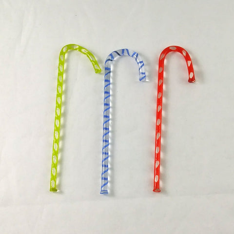 Handmade Art Glass Candy Canes, Set of 3, 3.5""