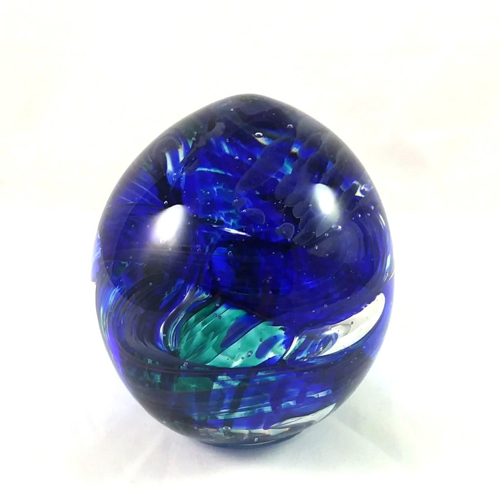 Handmade Art Glass Easter Egg Paperweight, Blue and Emerald Green, Large