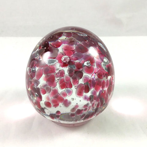 Handmade Art Glass Easter Egg Paperweight, Pink and White