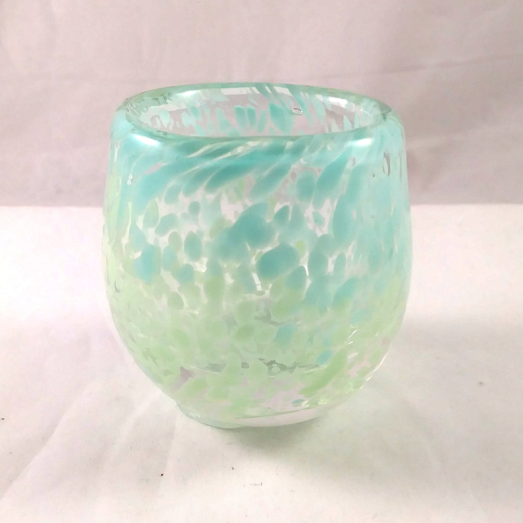 Handmade Art Glass Candle Holder, Pastel Blue and Green