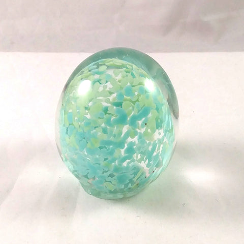 Handmade Art Glass Easter Egg Paperweight, Pastel Blue and Green