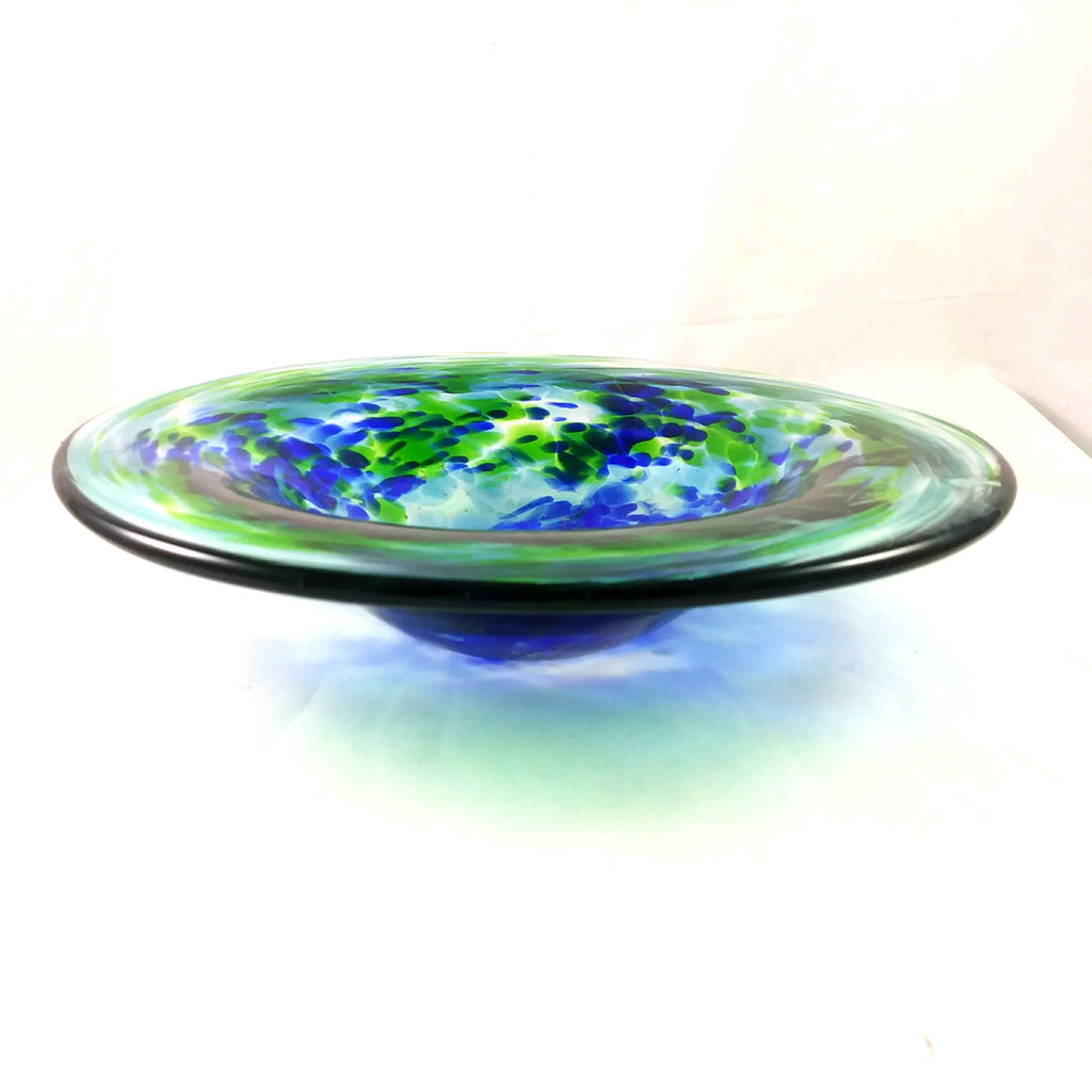 Handmade Art Glass Bowl, Blue, Green and Pure Gold, Round, SECOND