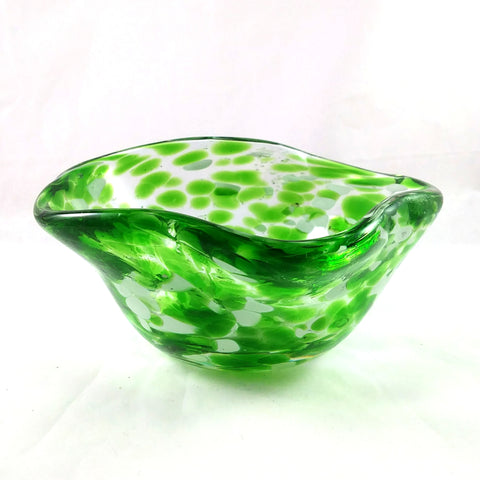 Handmade Art Glass Bowl, Freeform, Green and White, Small