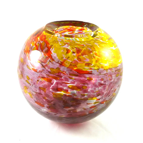 Handmade Art Glass Vase, Red, Pink and Yellow, Mother's Day Gift