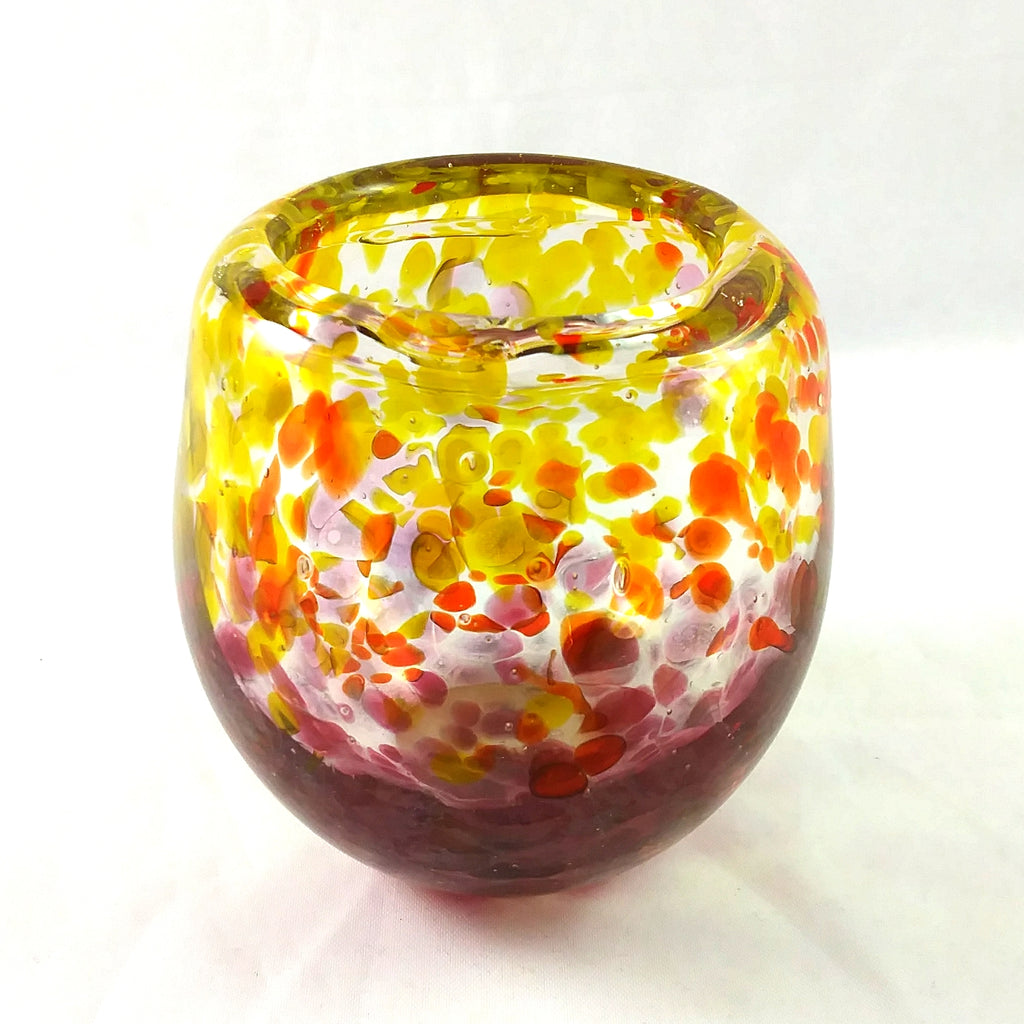 Handmade Art Glass Candle Holder, Red Pink and Yellow