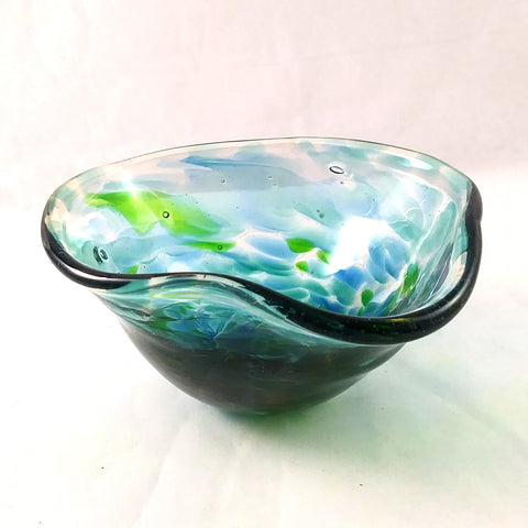 Handmade Art Glass Bowl, Freeform, Blue and Green, Small
