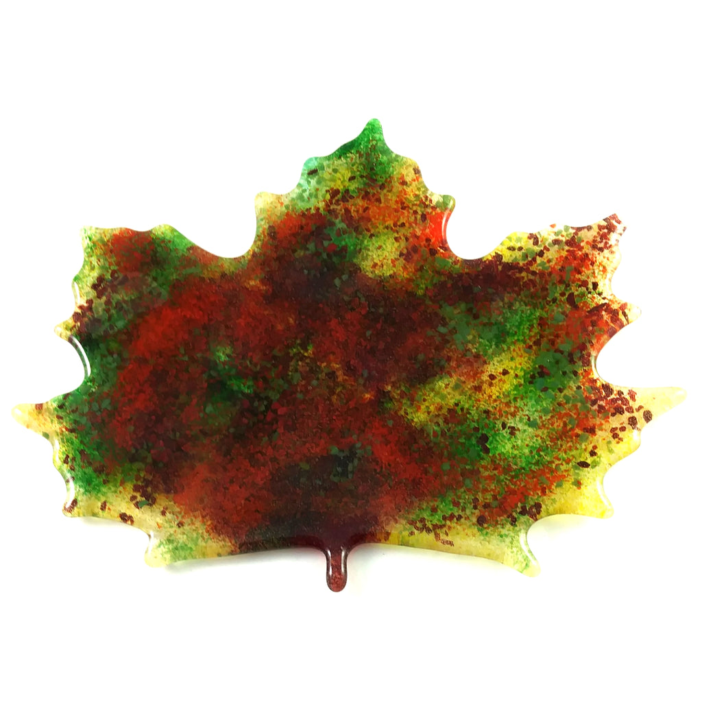 Large Art Glass Fall Maple Leaf, Red, Green, Pink, Amber, Orange, Design by...