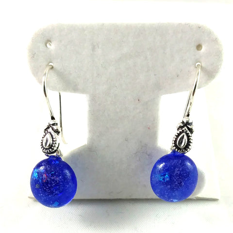 Handmade Blue and Dichroic Art Glass Earrings