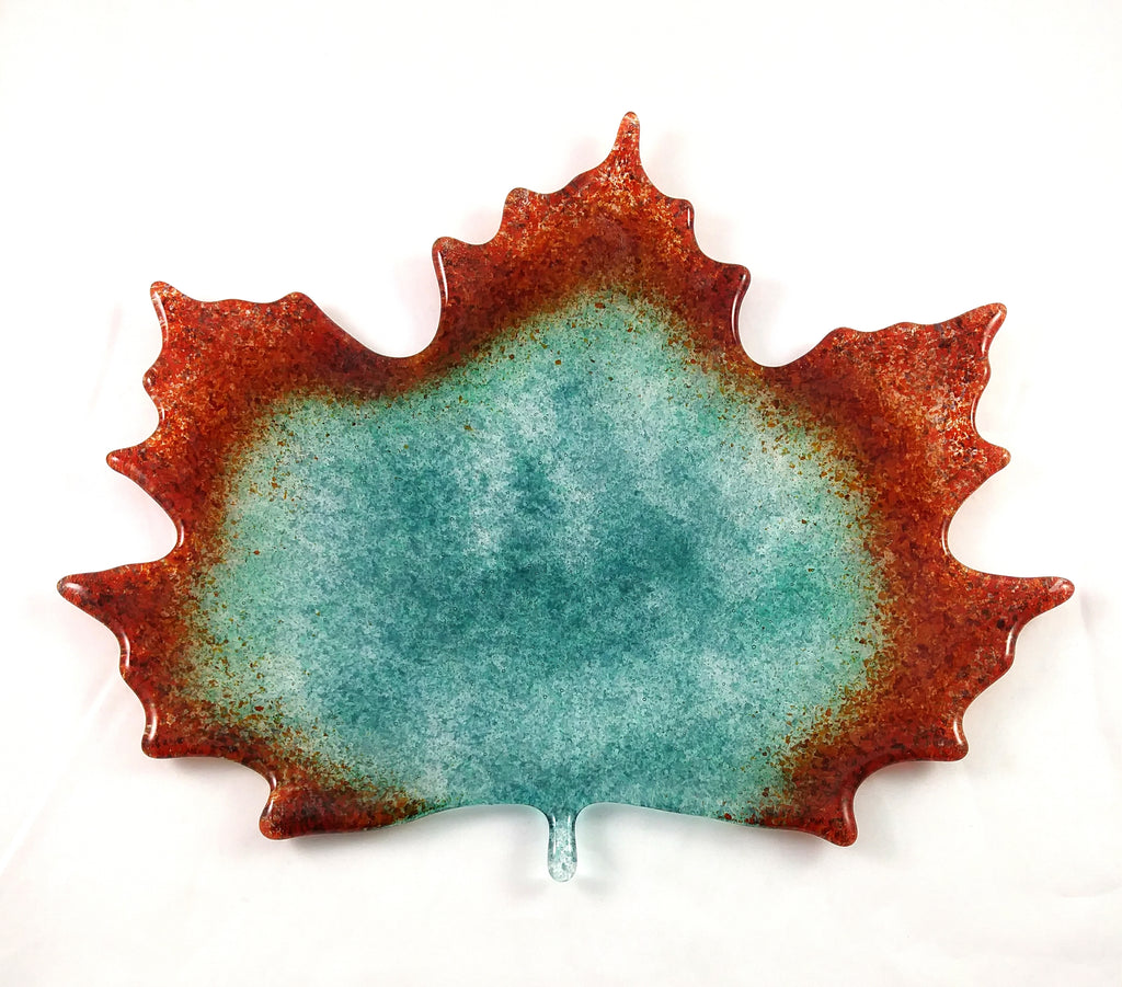 Large Art Glass Fall Maple Leaf, Teal, Orange, Red, Purple