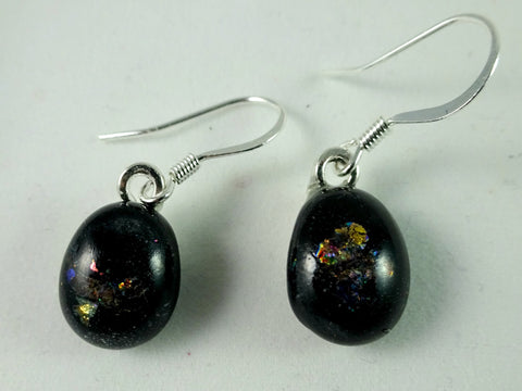 Handmade Dichroic and Black Art Glass Earrings
