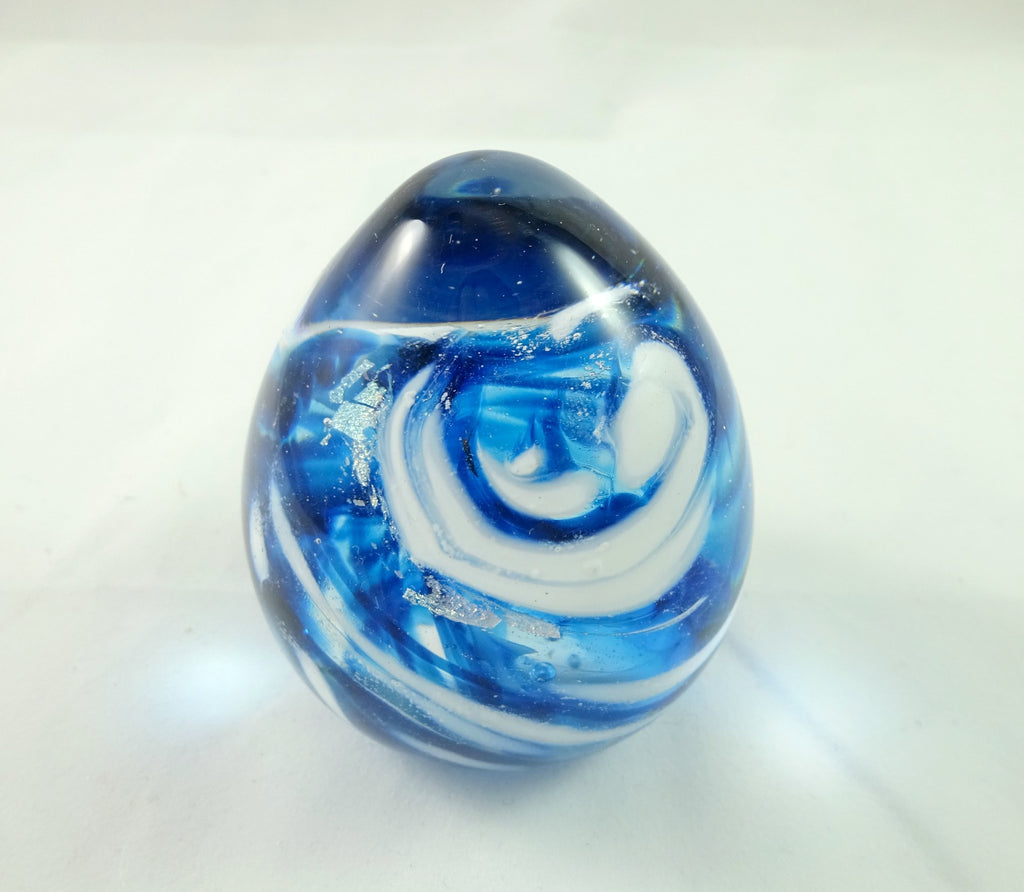 Handmade Art Glass Blue White and Dichroic Easter Egg Paperweight