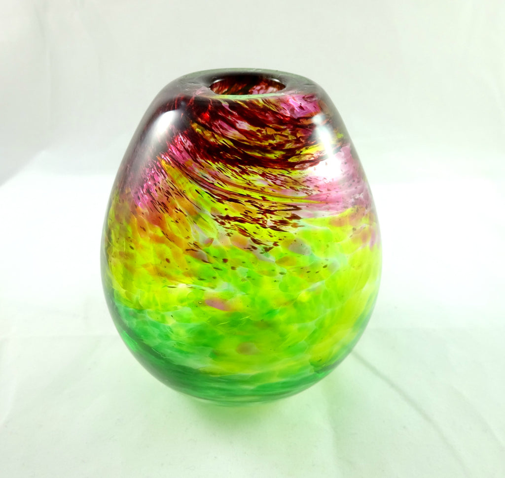 Art glass vase, hand blown mixed greens and red, Mother's Day Gift
