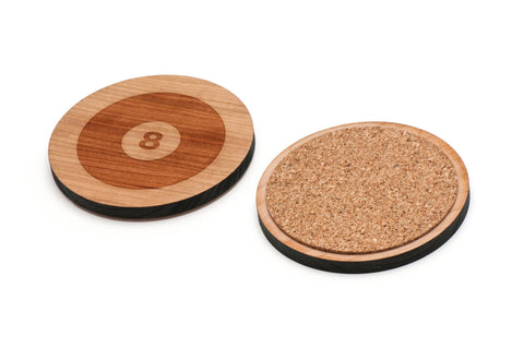 8 ball Wooden Coasters Set of 4