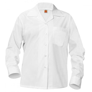 GIRLS WHITE LONG SLEEVE BROADCLOTH BLOUSE WITH POCKET WITH EMBROIDERED LOGO