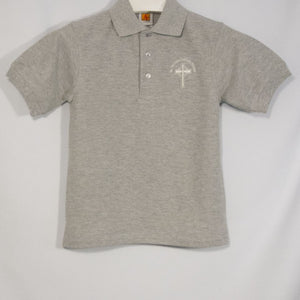 ST. NICHOLAS UNISEX GRAY BANDED SHORT SLEEVE PIQUE KNIT POLO WITH EMBROIDERED LOGO