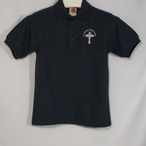 ST. NICHOLAS UNISEX NAVY BANDED SHORT SLEEVE PIQUE KNIT POLO WITH EMBROIDERED LOGO